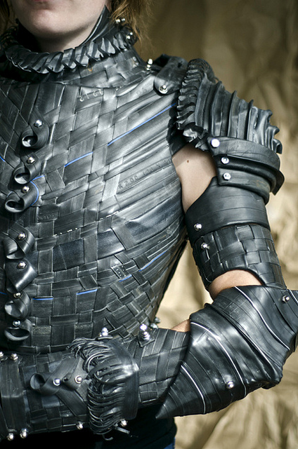 Armor made of recycled bicycle inner tubes